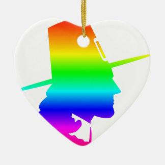 Peregrino del arco iris adorno navideño de cerámica en forma de corazón