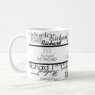 perfil de nombre de la tipografía moderna taza de café