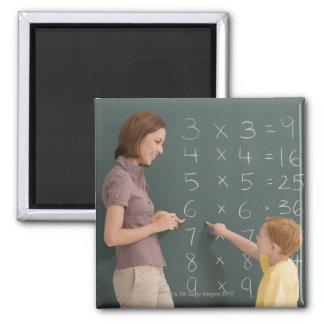 Perfil lateral de un profesor de sexo femenino que imanes