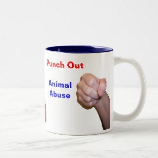 Perfore hacia fuera el abuso animal taza de dos tonos