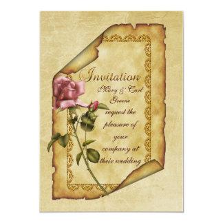Pergamino color de rosa rosado invitación 12,7 x 17,8 cm