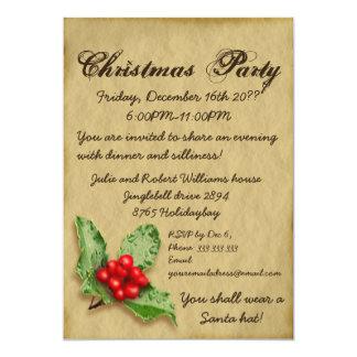 Pergamino con la fiesta de Navidad de la hoja del Invitación 12,7 X 17,8 Cm