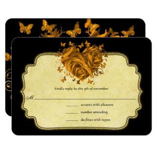 Pergamino del oro de la mariposa falso del oro invitación 8,9 x 12,7 cm
