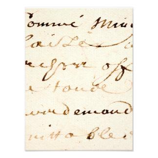 Pergamino francés de la escritura de la letra del cojinete