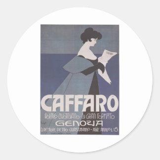 Periódico de Caffaro del ~ de Nouveau del arte Pegatina Redonda