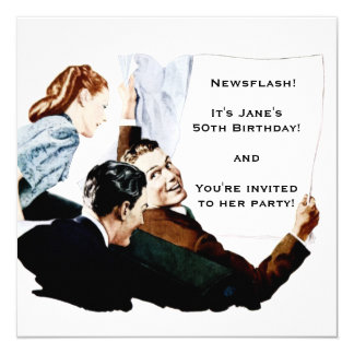 Periódico retro de los años 50 invitación 13,3 cm x 13,3cm