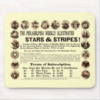 Periódico semanal de 1918 estrellas y de las rayas alfombrilla de ratón