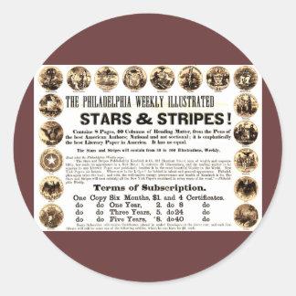 Periódico semanal de 1918 estrellas y de las rayas pegatina redonda