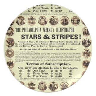 Periódico semanal de 1918 estrellas y de las rayas plato para fiesta