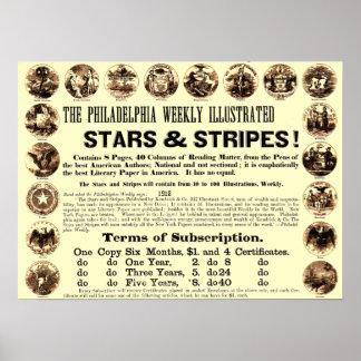 Periódico semanal de 1918 estrellas y de las rayas impresiones