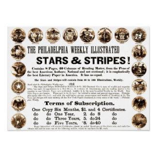 Periódico semanal de 1918 estrellas y de las rayas póster