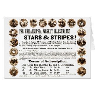 Periódico semanal de 1918 estrellas y de las rayas tarjeta pequeña