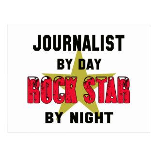 Periodista por el día rockstar por noche postal