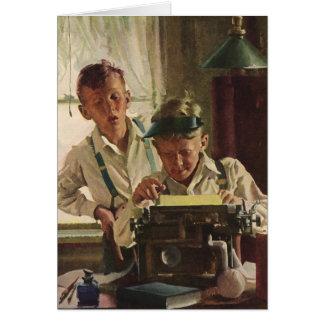 Periodistas del periódico del muchacho de los tarjeta de felicitación