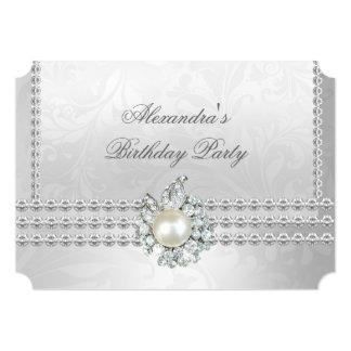 Perla blanca del diamante de cumpleaños de la invitación 12,7 x 17,8 cm
