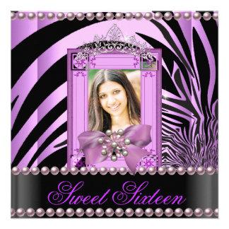 Perla de la lila de la cebra de la fiesta de cumpl comunicados personalizados