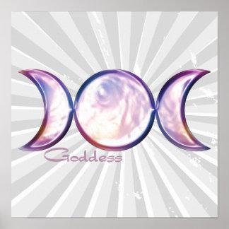 perla iridiscente de la diosa triple de la luna póster
