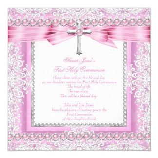 Perla rosada bonita de la primera cruz de la invitación 13,3 cm x 13,3cm