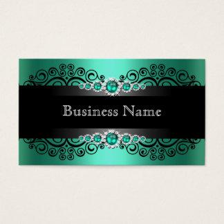 Perla verde elegante del negro del jade tarjeta de visita