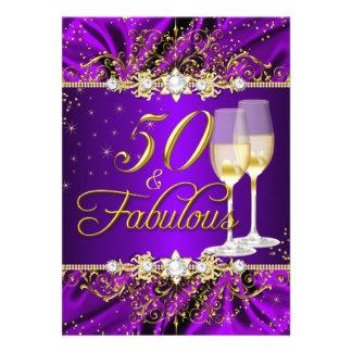 Perla y remolino púrpura 50 del oro y invitación
