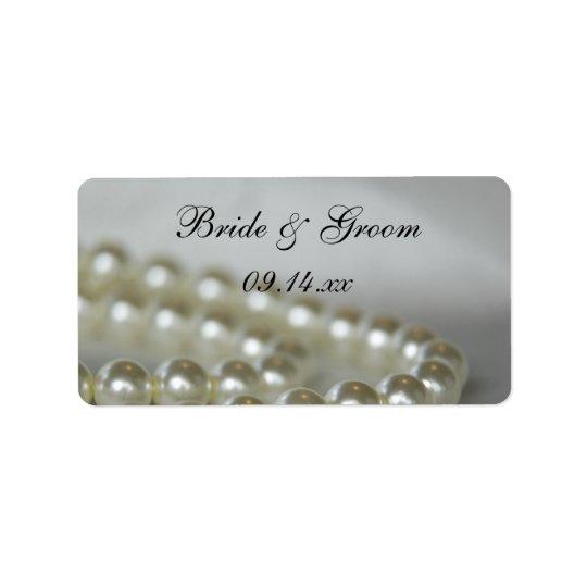 Perlas blancas que casan etiquetas del favor