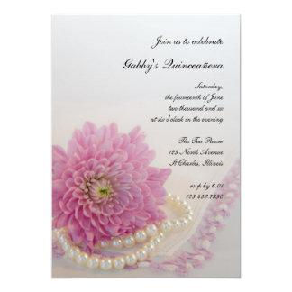 Perlas blancas y fiesta rosado de Quinceañera del Comunicados Personalizados