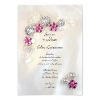 Perlas y fiesta rosado de Quinceañera de los Invitación 12,7 X 17,8 Cm