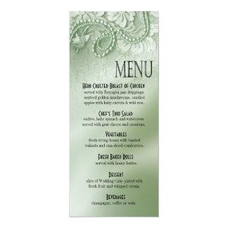 Perlas y verde menta del menú el | de la cena del invitación 10,1 x 23,5 cm