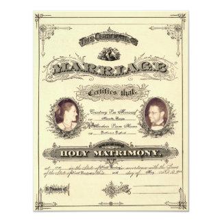 Permiso de matrimonio del vintage (fuente egoísta) invitación 10,8 x 13,9 cm