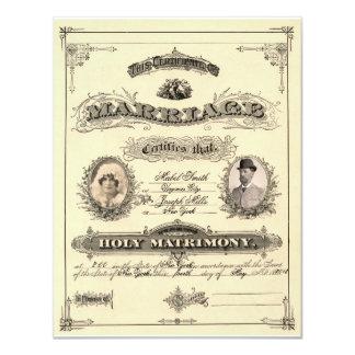 Permiso de matrimonio del vintage invitación 10,8 x 13,9 cm