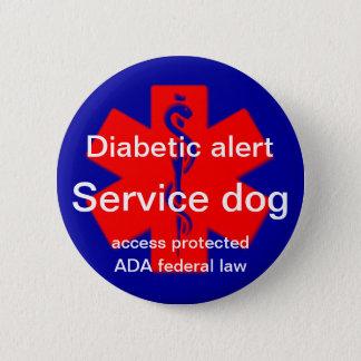 Perno alerta diabético del perro del servicio chapa redonda de 5 cm