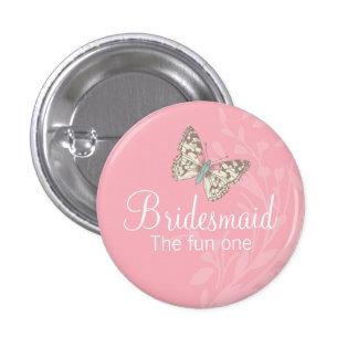 Perno/botón del boda del rosa de la dama de honor chapa redonda de 2,5 cm