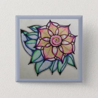 Perno de dibujo de la flor, (2 pulgadas) chapa cuadrada