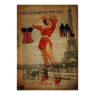 perno de la torre Eiffel encima de la ducha Invitación 12,7 X 17,8 Cm