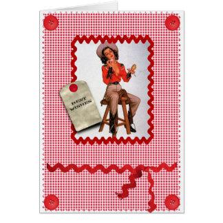 perno de la vaquera de los años 50 encima de la ta tarjeta de felicitación