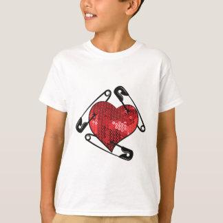 perno de seguridad rojo de las lentejuelas camiseta