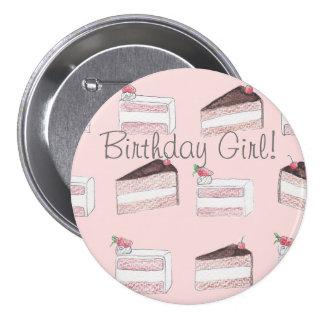 Perno rosado lindo del chica del cumpleaños del chapa redonda de 7 cm