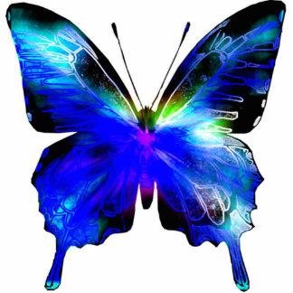 Perno u ornamento cortado mariposa azul escultura fotografica