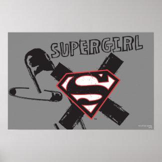 Pernos de seguridad negros de Supergirl Póster