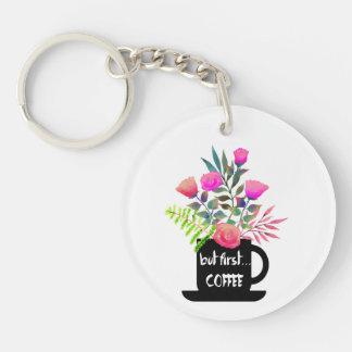 Pero primer café con llavero de los rosas de la