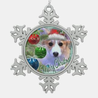 Perrito adorable del Corgi del navidad Adorno De Peltre Tipo Copo De Nieve