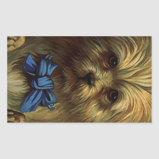 Perrito azul dulce del perro del arco de Yorkie Pegatina Rectangular
