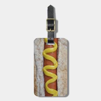 perrito caliente delicioso con la fotografía de la etiqueta para maletas