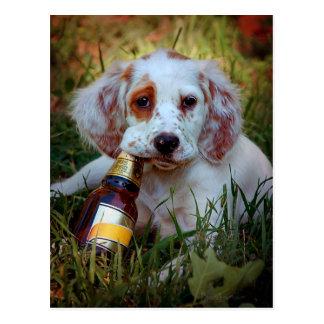 Perrito con la botella de cerveza postal