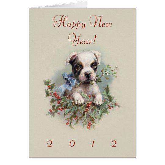 Perrito de Boston Terrier - el perro lindo del Año Tarjeta De Felicitación