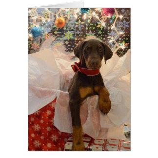 Perrito de Dobie de las Felices Navidad Tarjeta