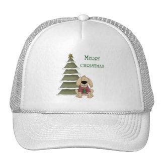 Perrito de las Felices Navidad con el árbol Gorras De Camionero