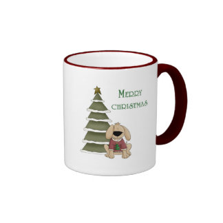 Perrito de las Felices Navidad con el árbol Tazas