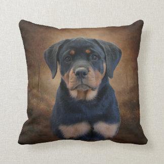 Perrito de Rottweiler Cojín Decorativo