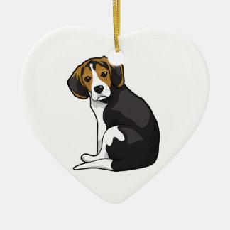 Perrito del beagle adorno navideño de cerámica en forma de corazón